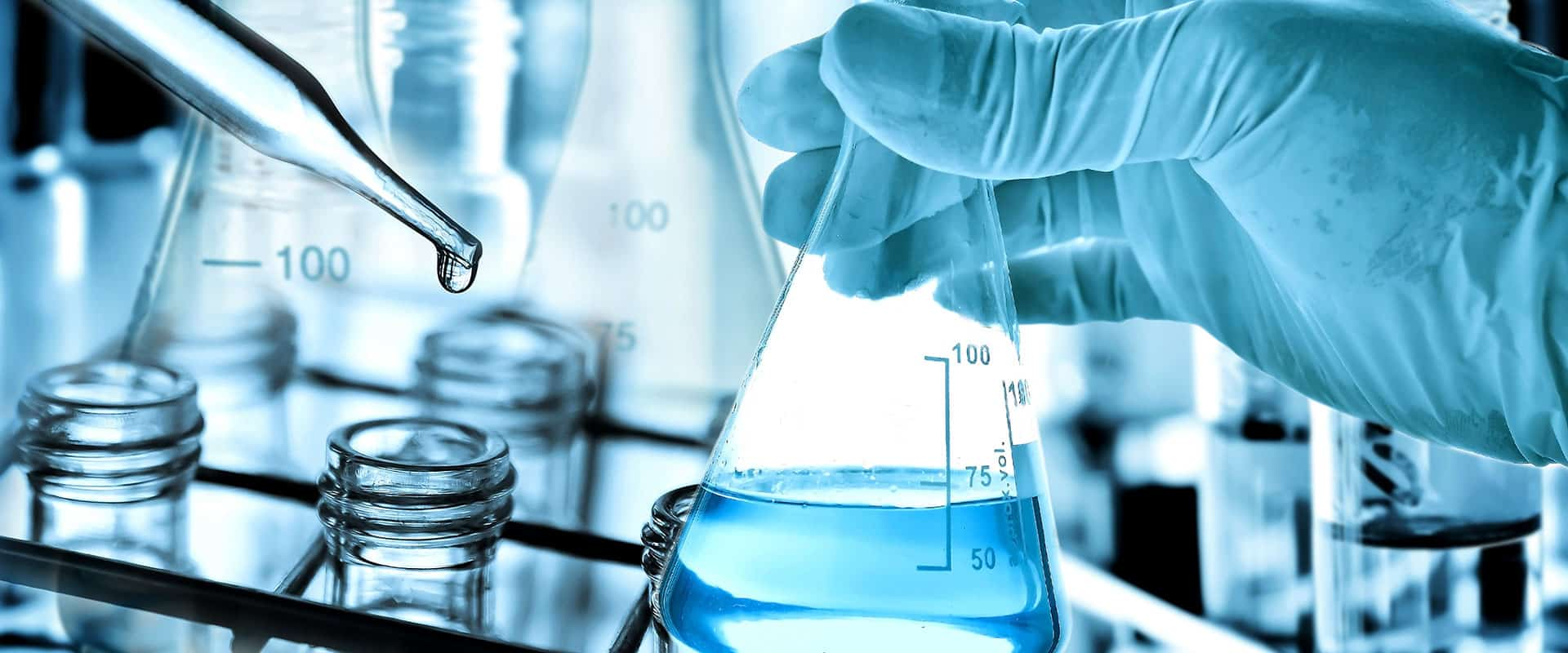 beakers test tubes droppers in lab
